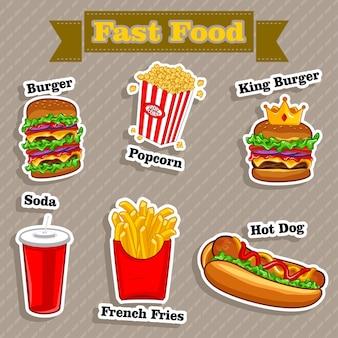 Ilustración de vector de menú de comida rápida