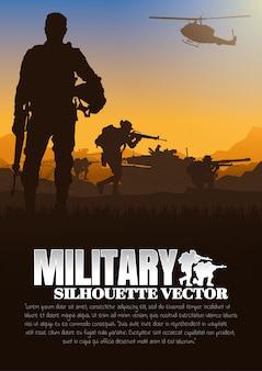 Ilustración de vector militar, fondo del ejército.