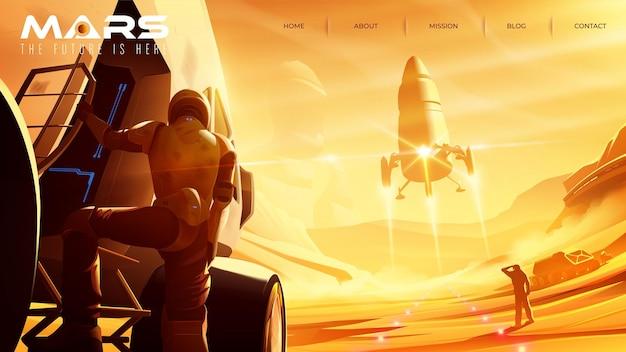 Ilustración de vector de misiones en marte que tiene el transbordador espacial