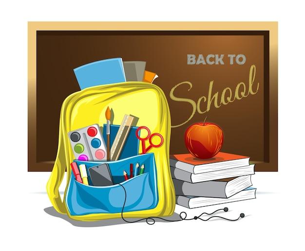 Ilustración de vector de mochila escolar con objetos de educación