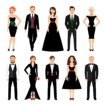Ilustración de vector de moda elegante personas. hombres en esmoquin y mujeres en vestidos de noche negros aislados.