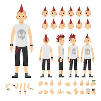 Ilustración de vector de moda hombre punk casual