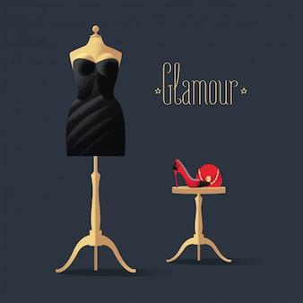 Ilustración de vector de moda con pequeño vestido negro, zapatos de tacón alto y bolso