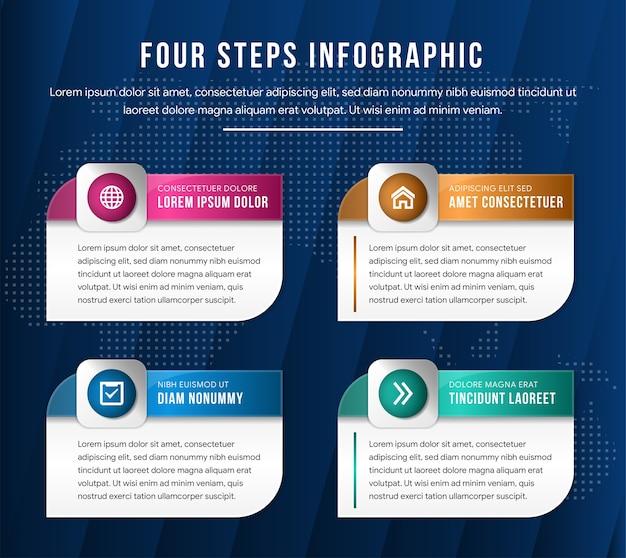 Ilustración de vector moderno 3d. plantilla de un rectángulo con infografía de esquinas redondeadas con dos elementos. diseñado para diagramas comerciales con 4 pasos