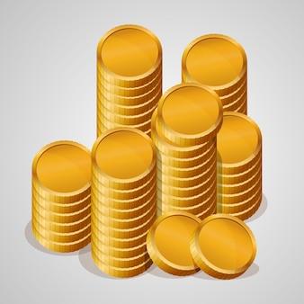 Ilustración de vector de monedas de oro. aislado en blanco.