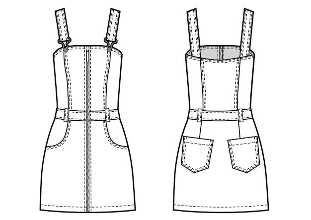 Ilustración de vector de mono corto de jeans de mujer. frente y detrás