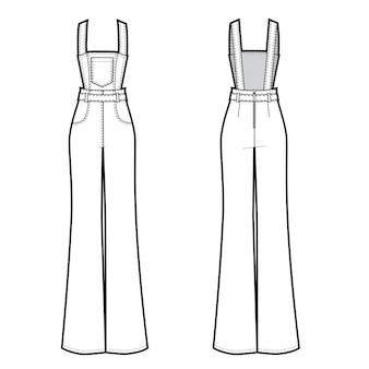 Ilustración de vector de mono de jeans para mujer delante y detrás