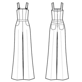 Ilustración de vector de mono de jeans de mujer. frente y detrás