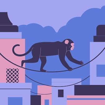 Ilustración de vector de mono macaco indio rhesus india