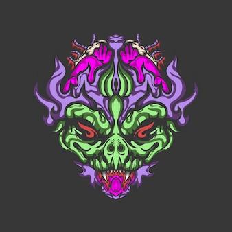 Ilustración de vector de monstruos alienígenas