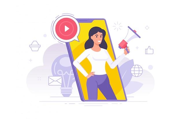 Ilustración de vector de mujer de dibujos animados plana con megáfono haciendo anuncio y promoviendo