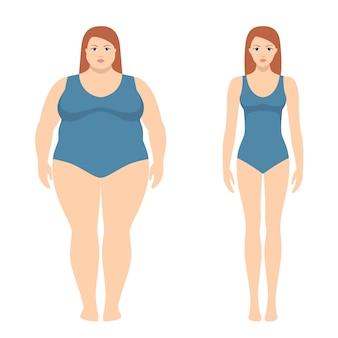 Ilustración de vector de mujer gorda y delgada en estilo plano.