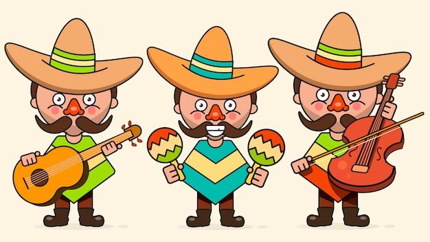 Ilustración de vector de músicos mexicanos con tres hombres con guitarras en ropa nativa y sombrero plano vector