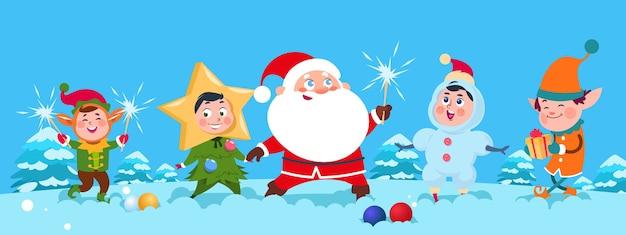 Ilustración de vector de navidad santa. niños felices de dibujos animados y santa claus con luces de bengala. navidad niños felices y santa con bengala.