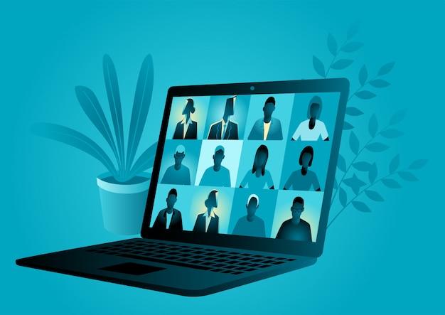 Ilustración de vector de negocio de una computadora portátil, aplicación de videoconferencia con un grupo de personas