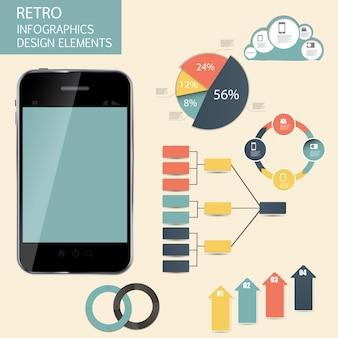 Ilustración de vector de negocio de plantilla de infografía retro vintage