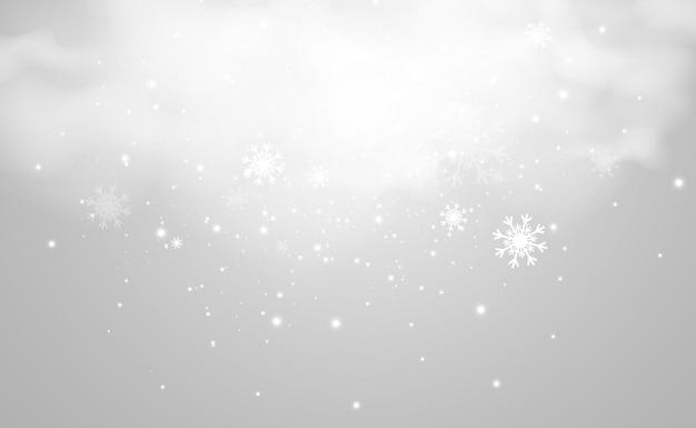 Ilustración de vector de nieve volando sobre un fondo transparente fenómeno natural de nevadas