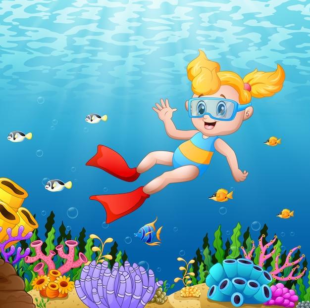 Ilustración de vector de niña buceo en el mar