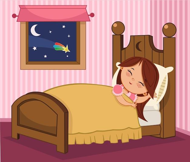Ilustración de vector de una niña durmiendo