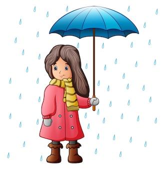 Ilustración de vector de niña bajo las gotas de lluvia con paraguas
