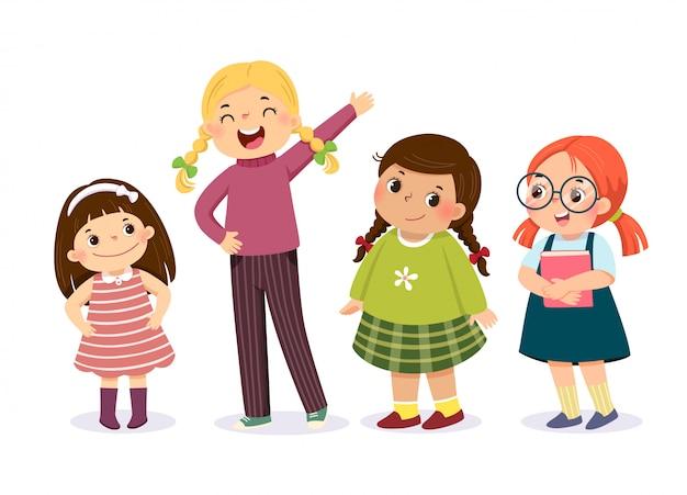 Ilustración de vector de niñas lindas en personaje diferente.