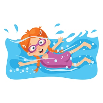 Ilustración de vector de niño natación
