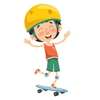 Ilustración de vector de niño patinaje sobre ruedas