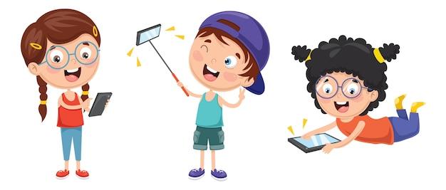 Ilustración de vector de niño usando dispositivo móvil