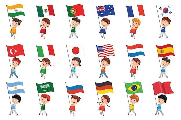 Ilustración de vector de niños con banderas