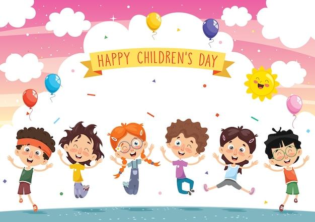 Ilustración de vector de niños de dibujos animados