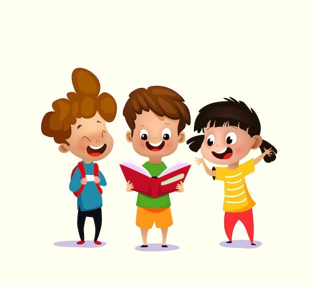 Ilustración de vector de niños leyendo libro abierto