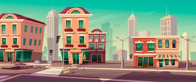 Ilustración de vector de obras viales en la calle de la ciudad