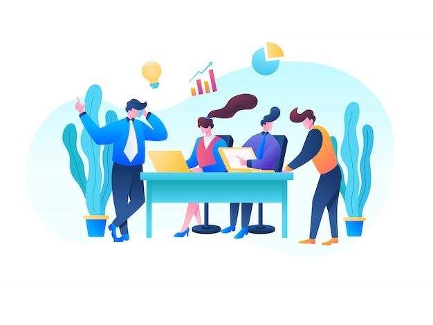 Ilustración de vector de oficina seo