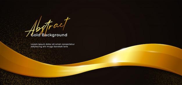 Ilustración de vector de onda fluida abstracta brillante dorada con brillo dorado sobre fondo de papel negro oscuro