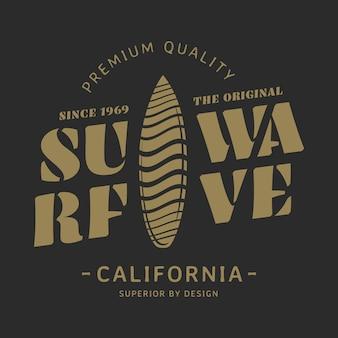 Ilustración de vector de onda de surf, gráficos para camisetas, etiqueta de surf de california