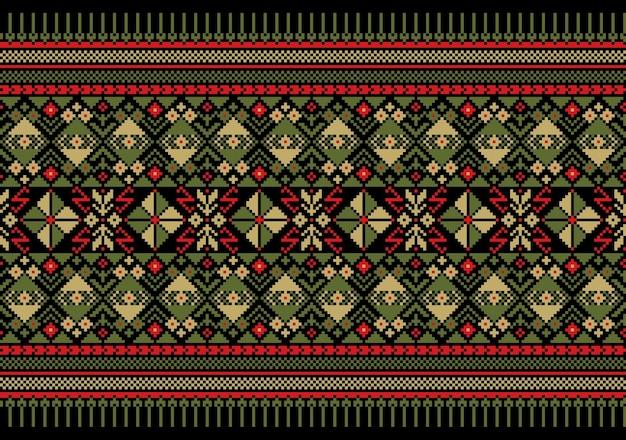 Ilustración de vector de ornamento de patrones sin fisuras folk ucraniano