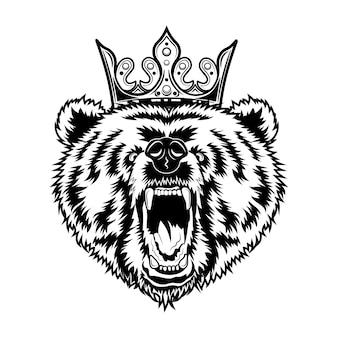 Ilustración de vector de oso rey. cabeza de animal rugiente enojado con corona real