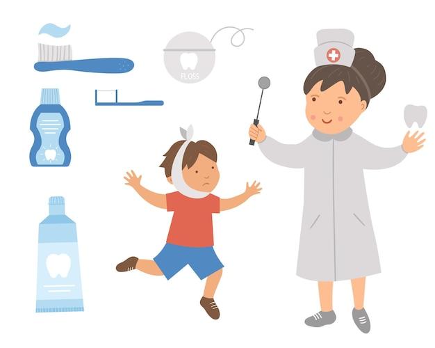 Ilustración de vector paciente dentista y niño enfermo. lindo médico de dientes y herramientas de cuidado dental para niños. cuadro de higiene bucal para niños. concepto de tratamiento de dientes