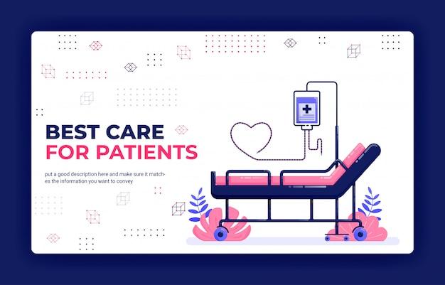Ilustración de vector de página de aterrizaje de la mejor atención para pacientes.