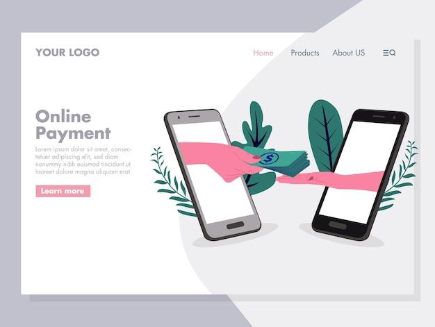 Ilustración de vector de pago en línea para página de inicio