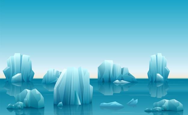 Ilustración de vector de paisaje ártico de invierno con muchos icebergs y montañas nevadas