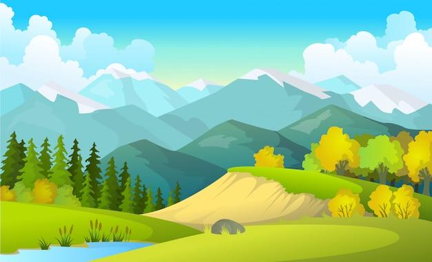 Ilustración de vector de paisaje de campos de verano hermoso con un amanecer, colinas verdes, cielo azul de color brillante