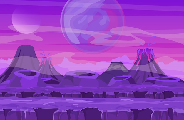 Ilustración de vector de paisaje espacial con vista de planeta rosa