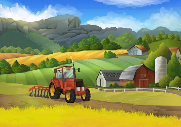 Ilustración de vector de paisaje rural de granja