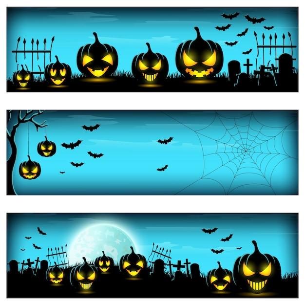 Ilustración de vector de la pancarta feliz halloween