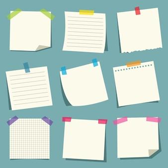 Ilustración del vector de los papeles de nota