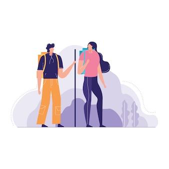 Ilustración de vector de pareja turista con mochilas