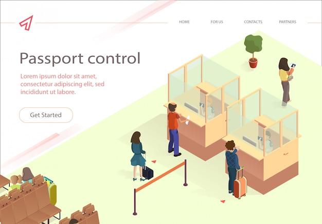 Ilustración vector pasaporte control pasajero.