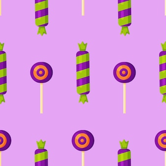 Ilustración de vector de patrón de caramelo dulce sobre fondo púrpura. postres dulces dulces pastel lindo de patrones sin fisuras con diferentes tipos.