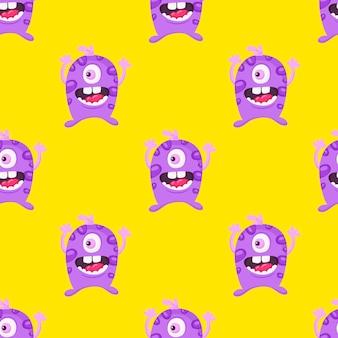 Ilustración de vector de patrón de monstruos de dibujos animados fresco inconsútil